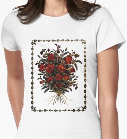 Vintage roses and lavander Womens Fitted T-Shirt