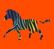 Zebra Black and Rainbow Print Kids Clothes