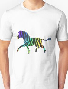 Zebra Black and Rainbow Print T-Shirt