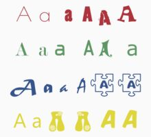 Iskybibblle / The Alphabet /The letter A/ Colours Kids Clothes