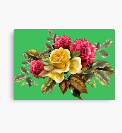 Watercolor rose bouquet Canvas Print