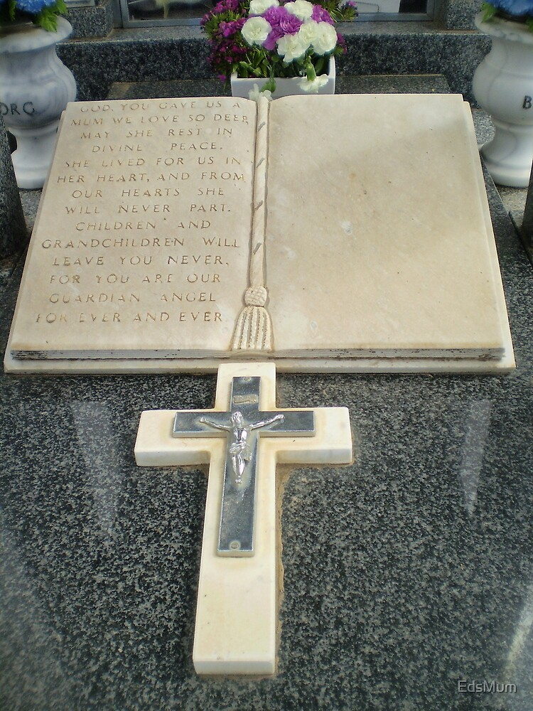 Beautiful Cross on tombstone - Werribee Cemetery by EdsMum