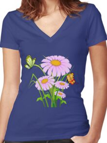 Cute daisies with butterflies Women's Fitted V-Neck T-Shirt