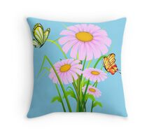 Cute daisies with butterflies Throw Pillow