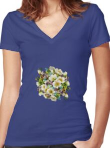Colorful watercolor bouquet Women's Fitted V-Neck T-Shirt