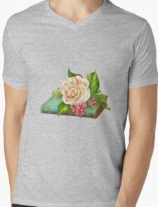 Flowers on the book Mens V-Neck T-Shirt