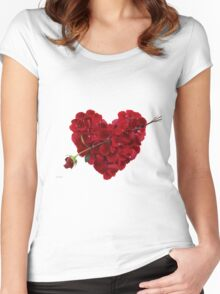 Red rose petals Women's Fitted Scoop T-Shirt