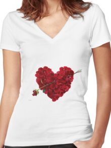 Red rose petals Women's Fitted V-Neck T-Shirt