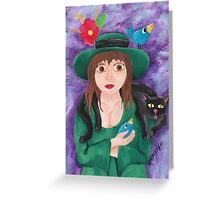 Girl in the Green Dress Greeting Card