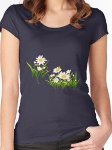 White cute daisies Women's Fitted Scoop T-Shirt