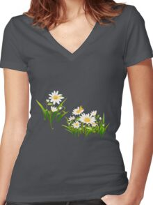 White cute daisies Women's Fitted V-Neck T-Shirt