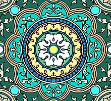 Turquoise Mandala Lotus Flower  by wildwildwest