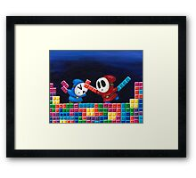 Shy Guys Playing Tetris Framed Print
