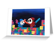 Shy Guys Playing Tetris Greeting Card