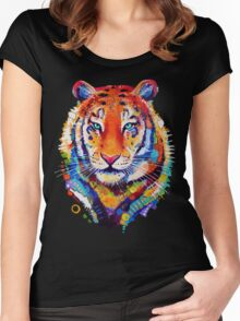 Tiger - Black Background Women's Fitted Scoop T-Shirt