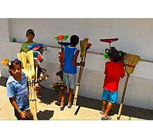Broom Salesmen - Argentina Photographic Print