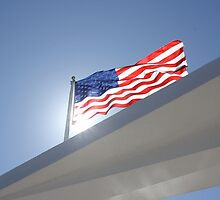 American Flag flying above the USS Arizona Memorial by FuccisPhotos