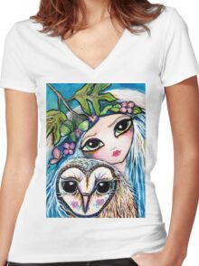 Owl Sprite by Sheridon Rayment Women's Fitted V-Neck T-Shirt