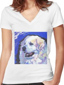 Great Pyrenees Mountain Dog Bright colorful pop dog art Women's Fitted V-Neck T-Shirt
