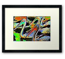 Glowing Pelicans Framed Print