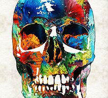 Colorful Skull Art - Aye Candy - By Sharon Cummings by Sharon Cummings