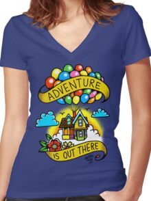 Adventure is Out There! Women's Fitted V-Neck T-Shirt