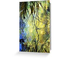 Blue Yellow Willow Water Greeting Card