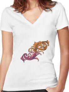 Filigree Women's Fitted V-Neck T-Shirt