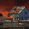 Red sky barn by Jim Cumming