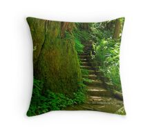 Stairway on Sweet Creek Trail Throw Pillow