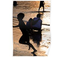 Golden evening at the beach in Bali Poster