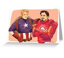 Cap and Iron Man Greeting Card