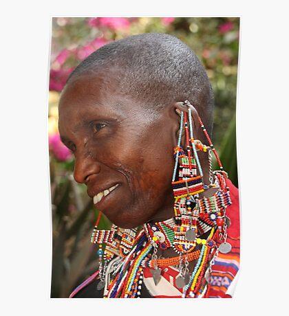 Portrait of an Older Maasai (or Masai) Woman, East Africa   Poster