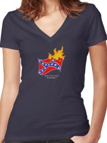 Burn Your Trash Responsibly Women's Fitted V-Neck T-Shirt