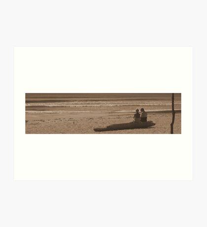 Couple of Lovers on Beach Art Print