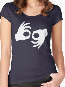 Okay, Hand Language Sign Women's Fitted Scoop T-Shirt