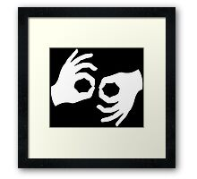 Okay, Hand Language Sign Framed Print