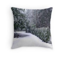 Spring Snow in the Driveway Throw Pillow