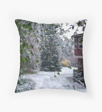 Snow and Blossoms Throw Pillow