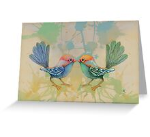 little love birds blue Greeting Card