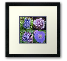 Blue Beauties Collage -  A Floral Study in Blue Framed Print