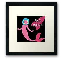 The Little Space Mermaid (Black) Framed Print