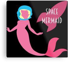 The Little Space Mermaid (Black) Metal Print