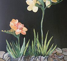 """Sweet Freesias - Mum said """"I smell their sweetness my day will be good"""" by Kathleen Duronio"""