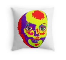 Psychedelic Mannequin Head Throw Pillow