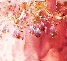 First Blush watercolor gold glitter crystals chandelier by Glimmersmith