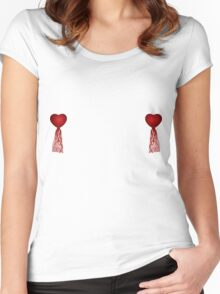 Red heart nipple tassels Women's Fitted Scoop T-Shirt