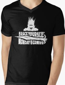 Monday is Coming (Game of Thrones) (White) Mens V-Neck T-Shirt