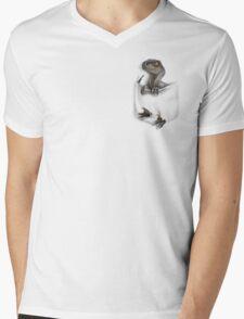 Pocket Protector - Female Raptor Mens V-Neck T-Shirt