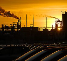 Industrial landscape at sunset by buttonpresser